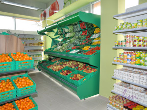Wyposażenie sklepu spożywczego - stoisko warzywno - owocowe. Realizacja ABM